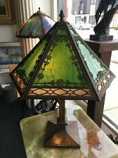 Antique Bradley And Hubbard Arts And Craft Style 12 Panel Slag Glass Lamp
