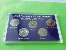 2001 US States Quarters Commemorative, Platinum Edition, 5 coins