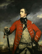 Oil painting Joshua Reynolds - Portrait of British General John Burgoyne & sword