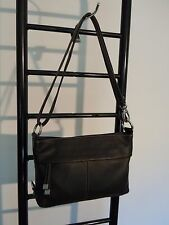 TIGNANELLO BLACK LEATHER  SHOULDER X BODY BAG/ organizer