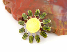 Vtg Sterling Silver Aksel Holmsen Norway Enamel Yellow Green Pin Scandinavian