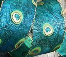 "5 Yards Peacock Feathers Glitter Blue Green Mirage Two Tone Wired Ribbon 2 1/2""W"