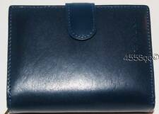 DESIGNER CAVALIERI MEDIUM BLUE ITALIAN LEATHER CLUTCH WALLET NEW IN BOX