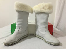 Stanza Open Country Italy Vintage Boots Bone Leather Rabbit Fur Fits 7/38 NIB