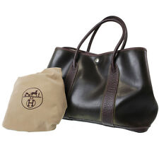HERMES Garden Party PM Hand Bag Amazonia Brown France Vintage Authentic #3136