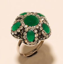 Cocktail Zambian Emerald Marcasite 925 Sterling Silver Women Party Ring Sz-6