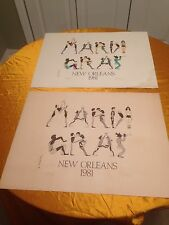 VINTAGE (2) 1981 S/N Mardi Gras Posters New Orleans, Louisiana Mauny M. Muray