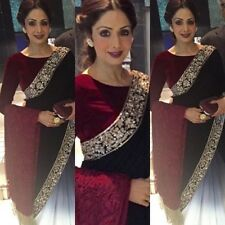 Stunning Indian Designer Bollywood Partywear Sridevi Red, White & Black Saree,