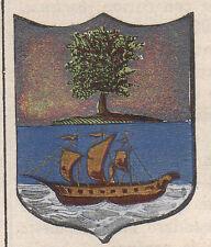 1865 Stemma di Pisciotta (araldica civica), Salerno litografia acquarellata