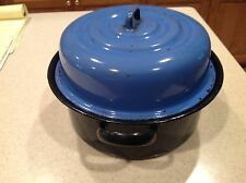 Vintage Black and Blue Graniteware Enamelware Pot with Lid and Inserts 2 Handles