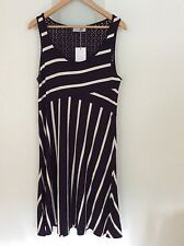 Marks and Spencer navy and cream stripe summer dress size 14 brand new!