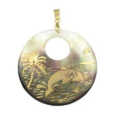 ABALONE Necklace Dolphin Pendant Etched GOLD Beach Palm Tree Jewelry Charm