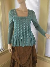 THE PYRAMID COLLECTION GREEN SEQUINED GODDESS RENAISSANCE TOP blouse EUC Sz S L