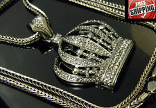 Large Crown King Royalty Iced Out Hip Hop Crystal CZ Pendant Franco Chain 36""
