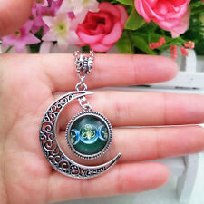 Triple Moon Goddess necklace Dark green moon wiccan pagan wicca chain pendant 10