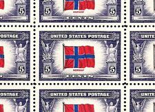 1943 - NORWAY - #911 Full Mint -MNH- Sheet of 50 Postage Stamps
