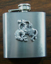 3oz Stainless Steel Hip Flask Pewter Rodeo Rider Western Emblem FREE UK POST