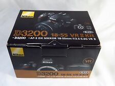 Nikon D3200 & VR II 18-55mm G Lens - DSLR Camera Black. New In Box + a Bonus Kit