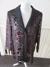 Big collar black chiffon transparent shrug jacket vintage blouse 18 patterned