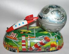 RARE 1950's Japanese ROCKET LAUNCHER Tin Lithograph Mechanical bank ~ NEAR MINT!