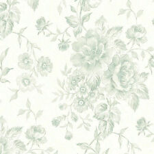 Lovely Watercolor Cottage Rose Green Wallpaper Double Roll Bolts FREE SHIPPING