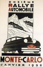 """""""11ème RALLYE AUTOMOBILE MONTE-CARLO 1932"""" Affiche entoilée FALCUCCI 44x66cm"""