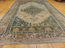 Antique Ca1900-1939s 5'x9' Muted Colors, Wool Pile Ushak Rug
