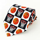 New Basketball Checkerboard Mens Necktie Coach Team Gift Sports Fan Neck Tie
