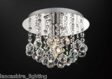 * SALE * Flush Ceiling Light In Chrome With Stunning Crystal Ball Droplets 1x60W