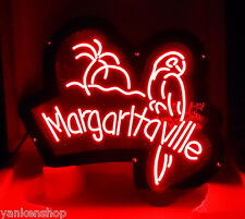 "LD077 Margaritaville Parrot Beer Bar Pup Display LED red Light Sign 11.5""x9.5"""