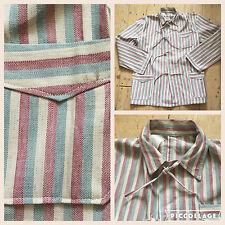RARE 1930s Cotone Francese Lino a Righe Pigiama Da Uomo Workwear Giacca Vintage