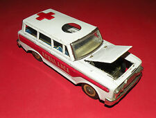 VINTAGE RARE TIN TOY FRICTION AMBULANCE CAR 1960's MF 111 VEHICLE MADE IN CHINA