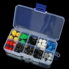 50Pcs Tactile Push Button Switch Momentary Tact & Cap Assorted Kit 12x12x7.3mm K