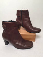 ECCO Brown Leather Round Toe Side Zip Ankle Boots Womens Sz 36 US 5.5 CUTE!