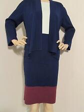 NEW ST JOHN KNIT DRESS 10 & JACKET MILANO KNIT NAVY BLUE MARINE MINT BURGUNDY