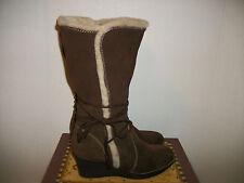 Bass Sundance Women's Winter Tall Boots Brown Suede Wedges Size 10M
