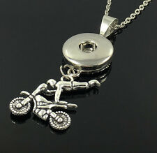 Motorcycle trapeze Pendant With Charm Necklace Fit 18mm Snap Chunk Button B2