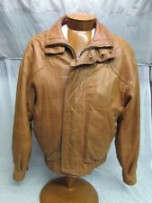 Andrew Marc Studio Heavy Brown Leather Jacket 80's Look Small*