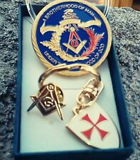 GOLD PLATED MASONIC COIN-2/SIDED, LAPEL PIN, KNIGHTS TEMPLAR KEY CHAIN -Gifts