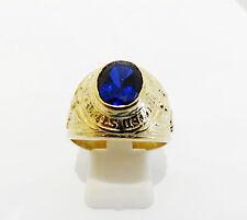 bague chevalière universitaire or jaune 375/1000 pierre bleu