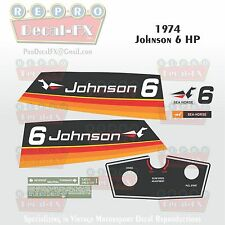 1974 Johnson 6 HP Sea Horse Outboard Reproduction 10 Pc Marine Vinyl Decals 6R74