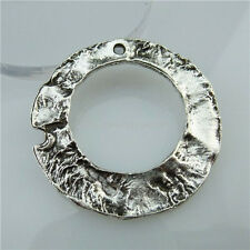 13461 8PCS Alloy Vintage Silver Large Round Circle Pendant Connector Both Sided