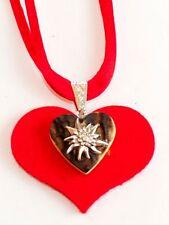 German Bavarian Women's Oktoberfest Jewelry - Edelweiss on Antler and Felt Heart