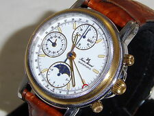 "JEAN MARCEL . W/SWISS VALJOUX 7751 MOVEMENT"" HARD TO FIND 18k yellow bezel"