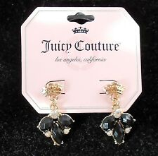 Juicy Couture Crowns Gold Tone &  Black & White Crystal Stud Earrings NWT