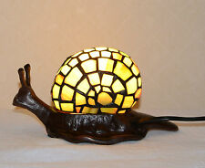 Stained Glass Tiffany Style Snail Night Light Table Desk Lamp. Metal Base