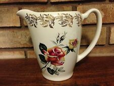 VINTAGE LORD NELSON POTTERY 3375 PORELAIN ROSE PITCHER ENGLAND SIGNED CROWN MARK
