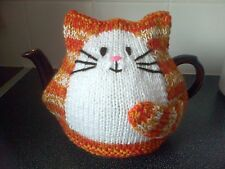 Hand knitted New ginger cat tea cosy large for 2 pint teapot