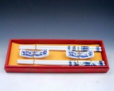 Gift Set 2 Pairs Blue&White Porcelain Scenery Painted Chopsticks w/ 2 Holders