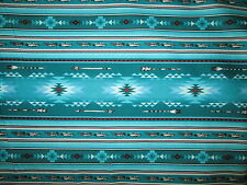 Navajo Native American Feather Arrow Teal Red Blk Print Cotton Fabric FQ